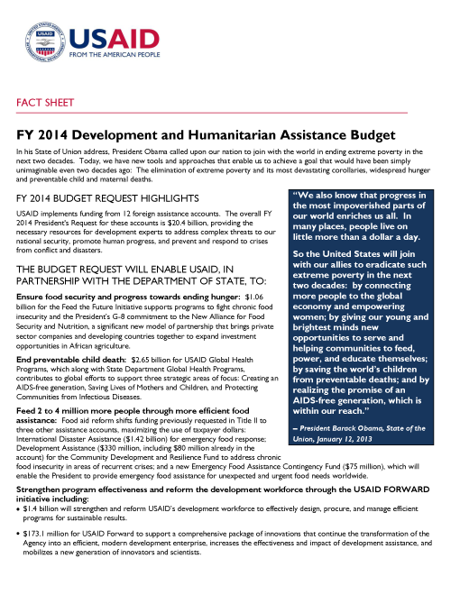 Fact Sheet: FY 2014 Development and Humanitarian Assistance Budget