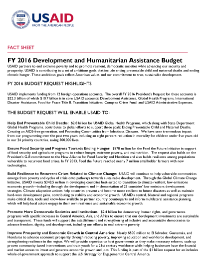 FY 2016 Development and Humanitarian Assistance Budget Fact Sheet