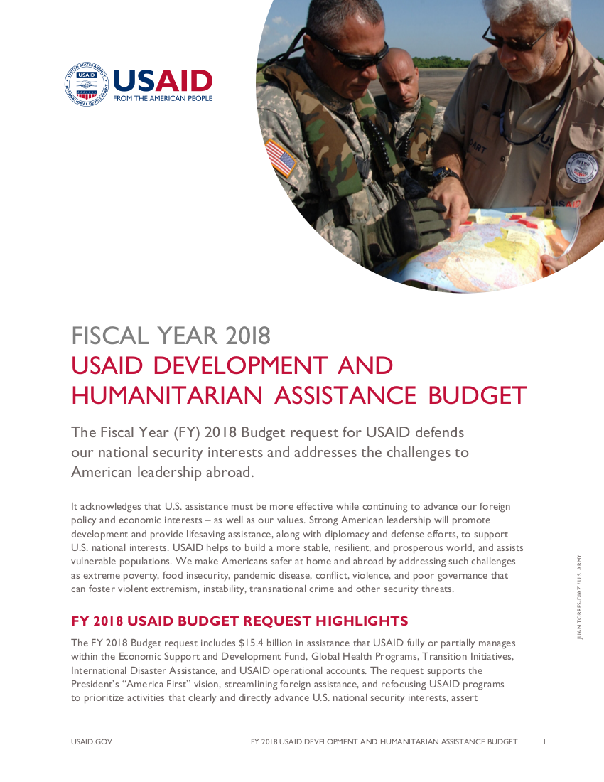 Fiscal Year 2018 USAID Development and Humanitarian Assistance Budget