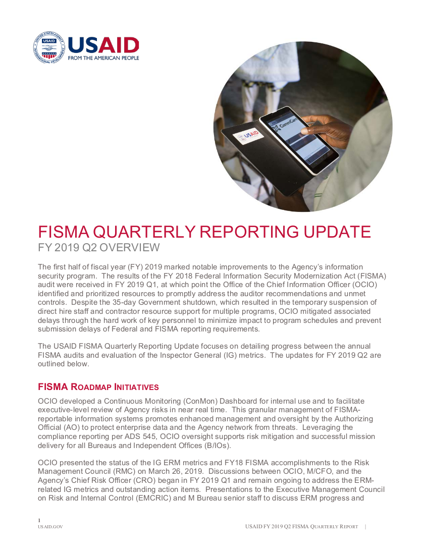 FISMA Quarterly Reporting Update - FY 2019 Quarter 2