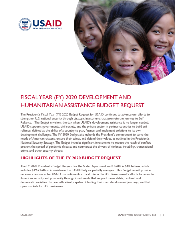 Fact Sheet: Fiscal Year 2020 Development and Humanitarian Assistance Budget Request