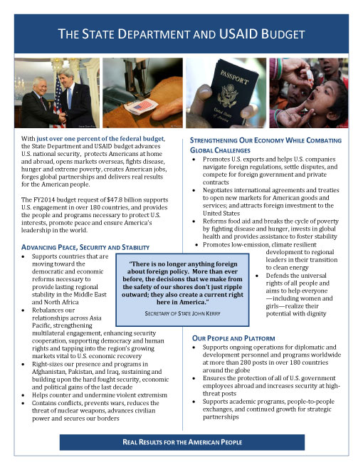 Fact Sheet: The State Department and USAID Budget