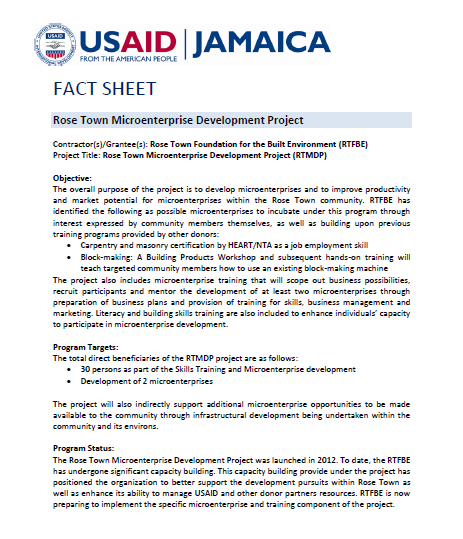 Fact Sheet - Rose Town Micro-enterprise Development Project