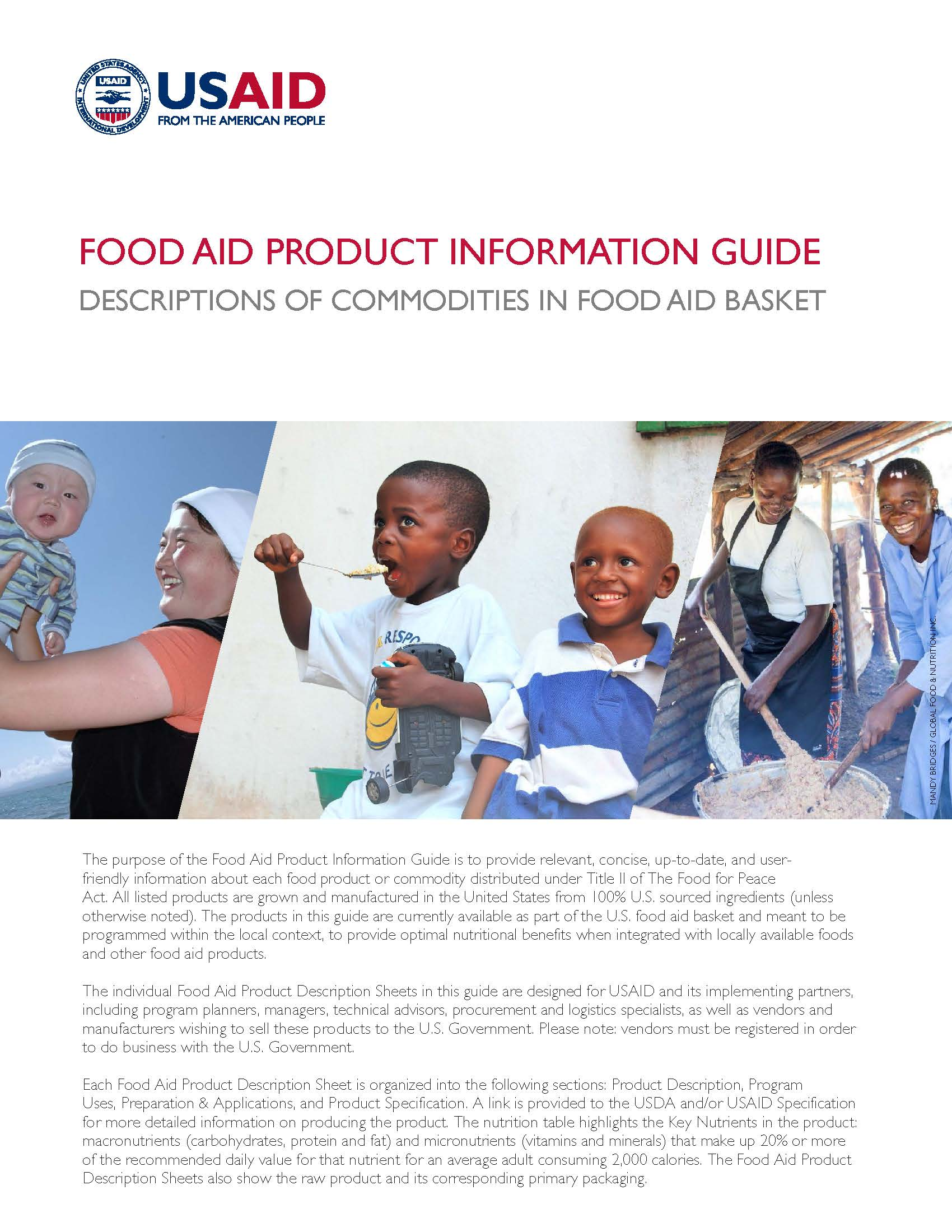 Food Aid Product Information Guide