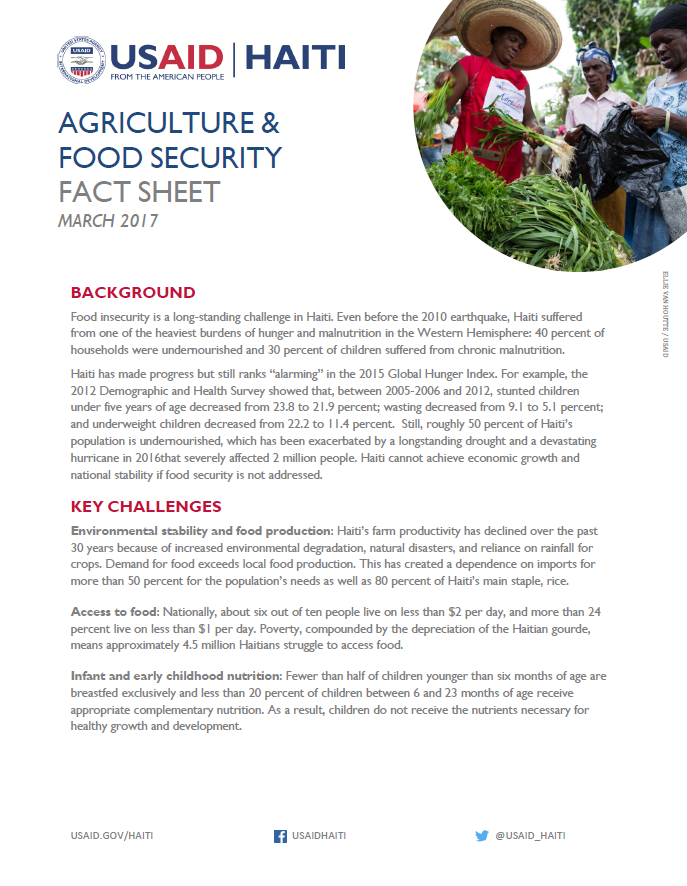 Agriculture & Food Security Fact Sheet 2017