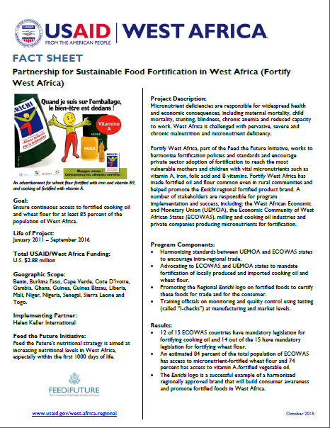 Fact Sheet on the Partnership for Sustainable Food Fortification in West Africa