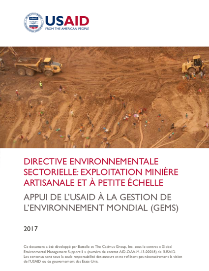 Sector Environmental Guideline: Artisanal and Small-Scale Mining (2017 - French)