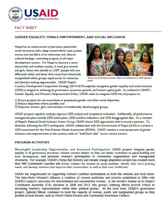 gender equality female empowerment and social inclusion fact  fact sheet gender equality female empowerment and social inclusion