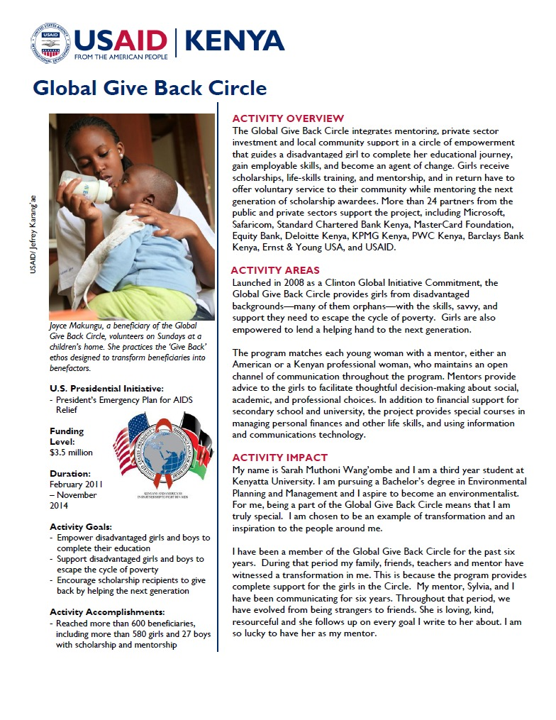 Global Give Back Circle Fact Sheet.August 2014