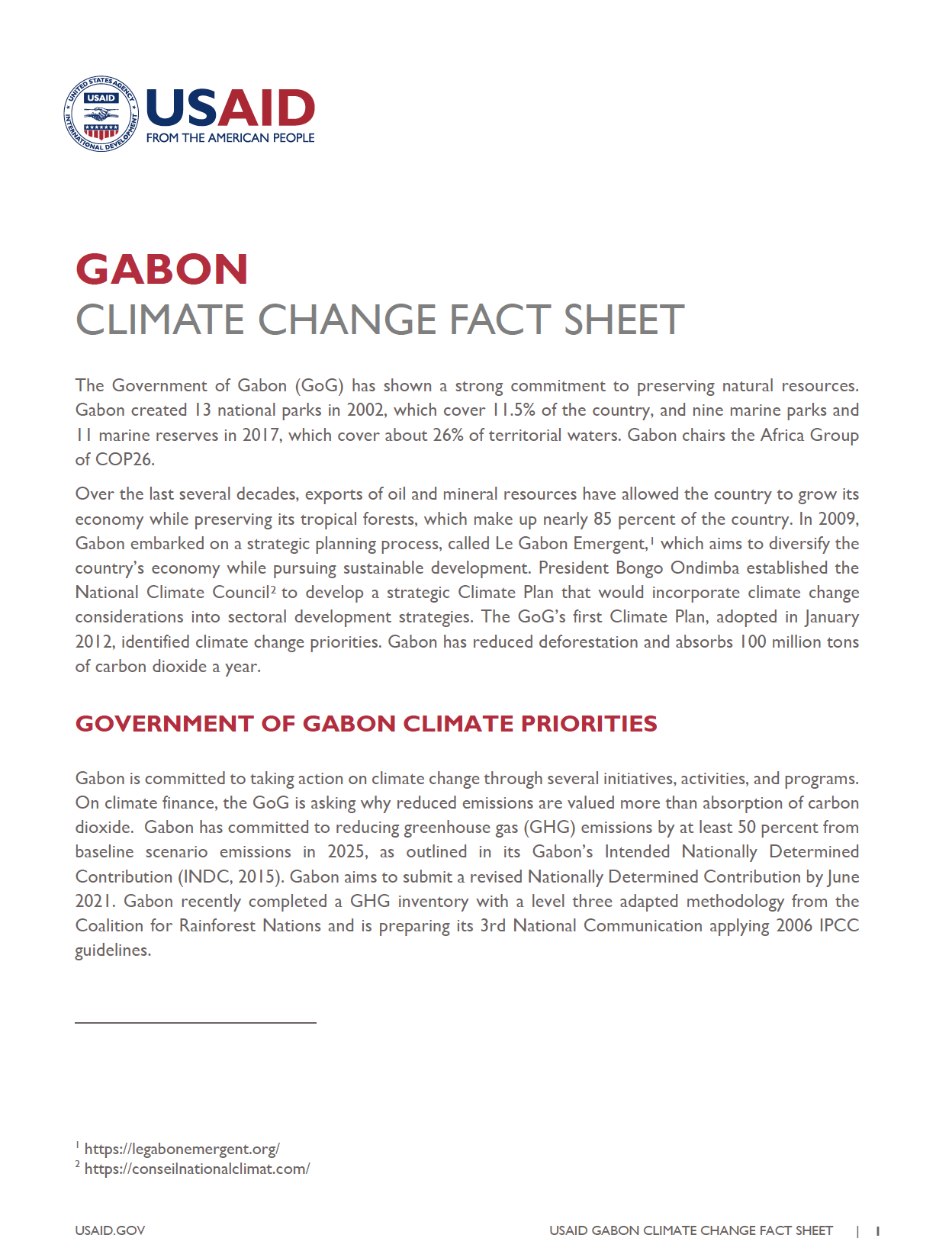 Gabon Climate Change Country Profile