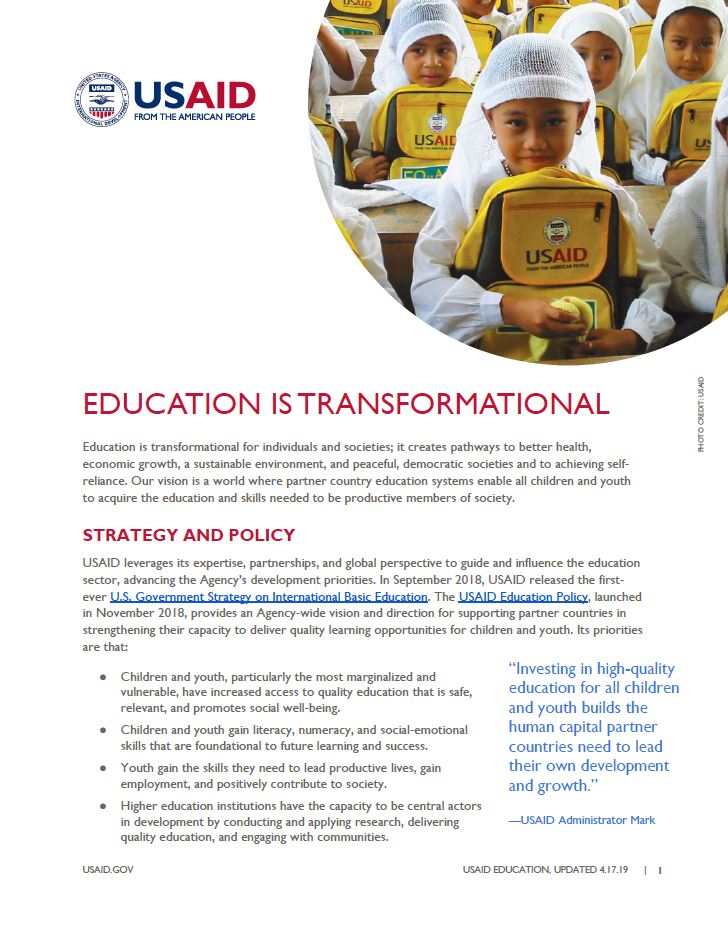 USAID Education Fact Sheet - Overview