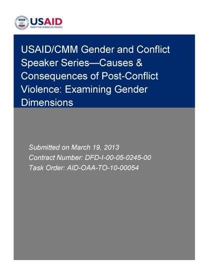 Causes & Consequences of Post-Conflict Violence: Examining Gender Dimensions