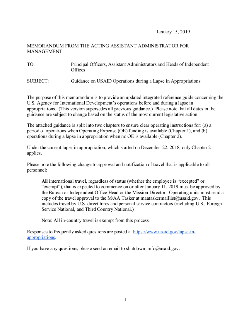Guidance on USAID Operations during a Lapse in Appropriations - January 15, 2019