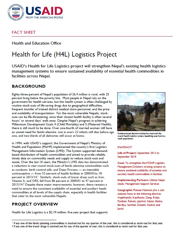 Health for Life (H4L) Logistics Project