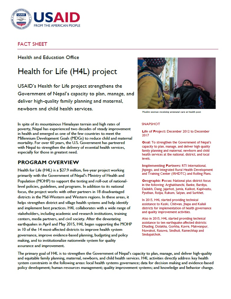 Fact Sheet: Health for Life (H4L) project