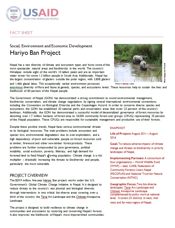 Hariyo Ban project factsheet
