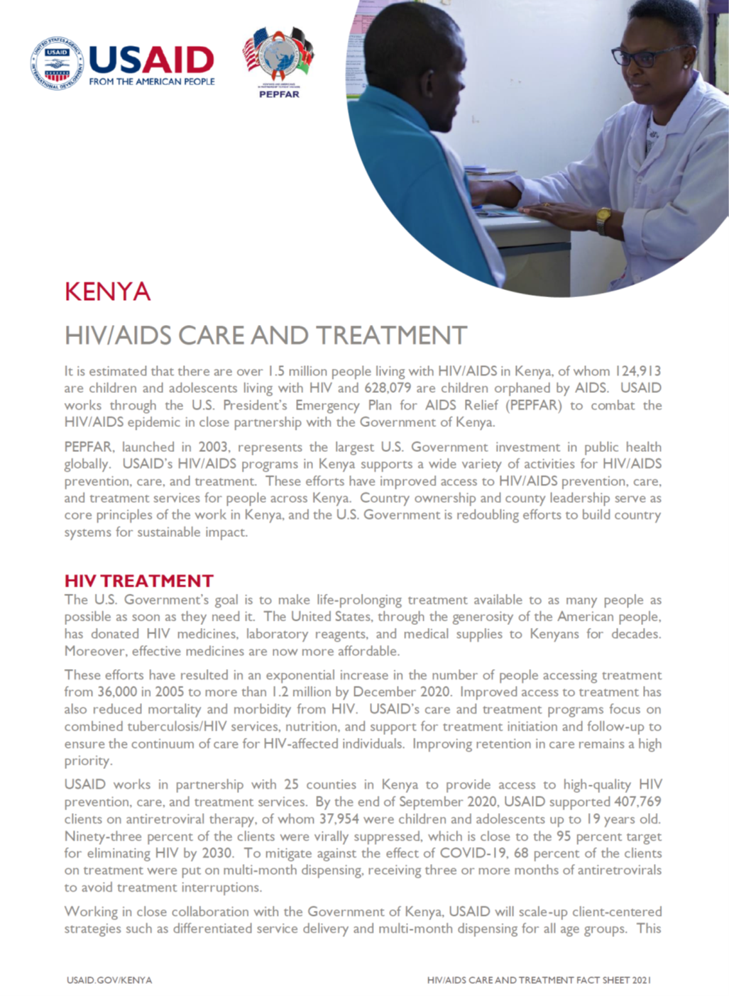 HIV/AIDS Care and Treatment fact sheet