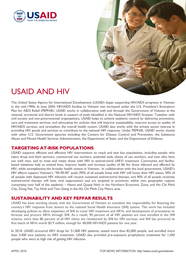 Fact Sheet: USAID and HIV - April 2019