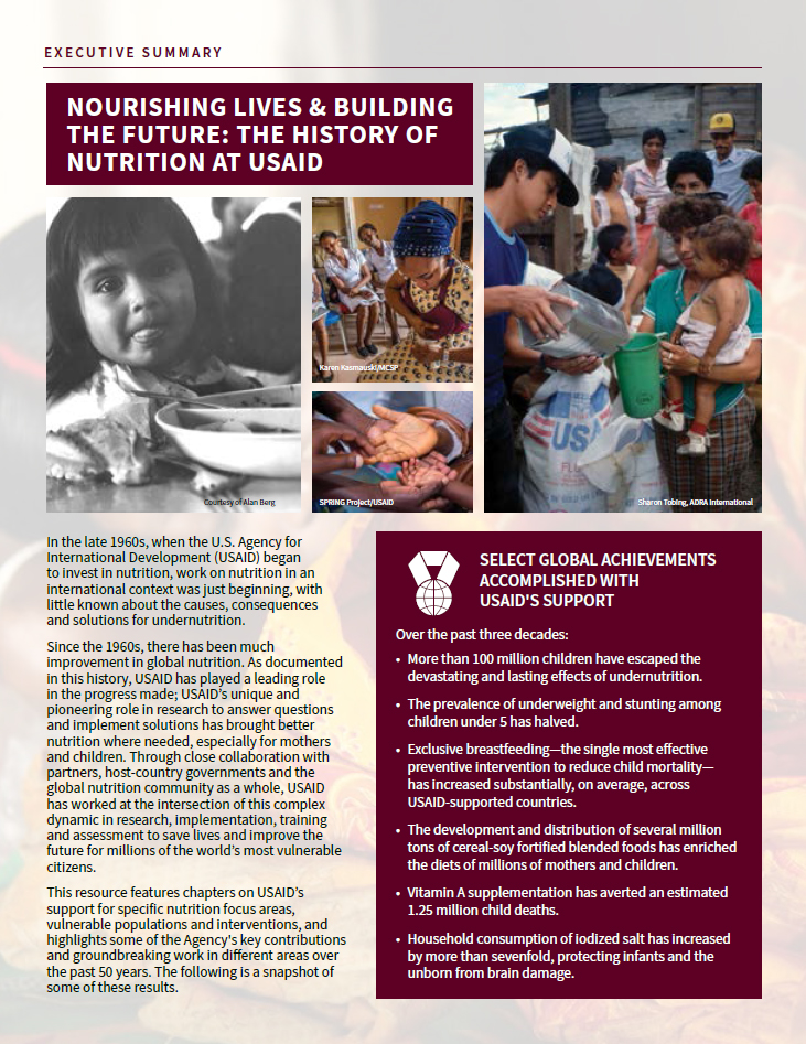 Nourishing Lives & Building The Future: The History Of Nutrition At USAID - Executive Summary
