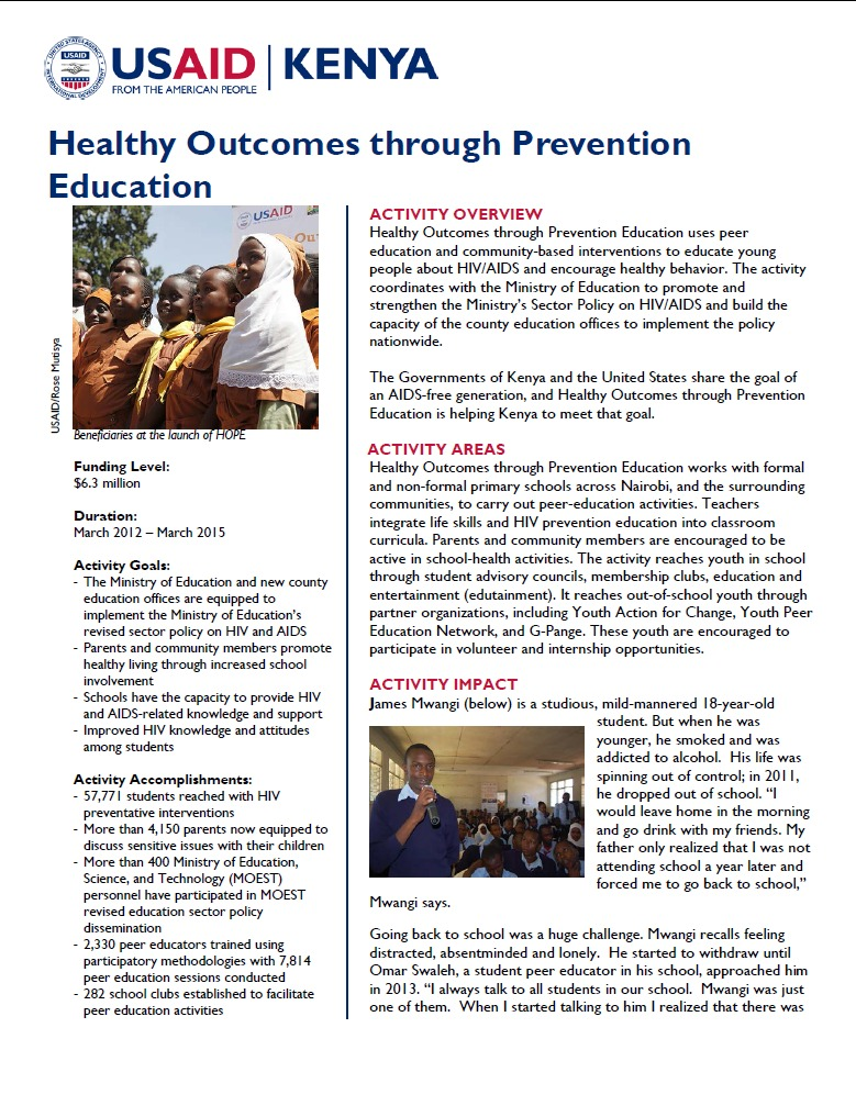 Healthy Outcomes through Prevention Education Fact Sheet_August 2014