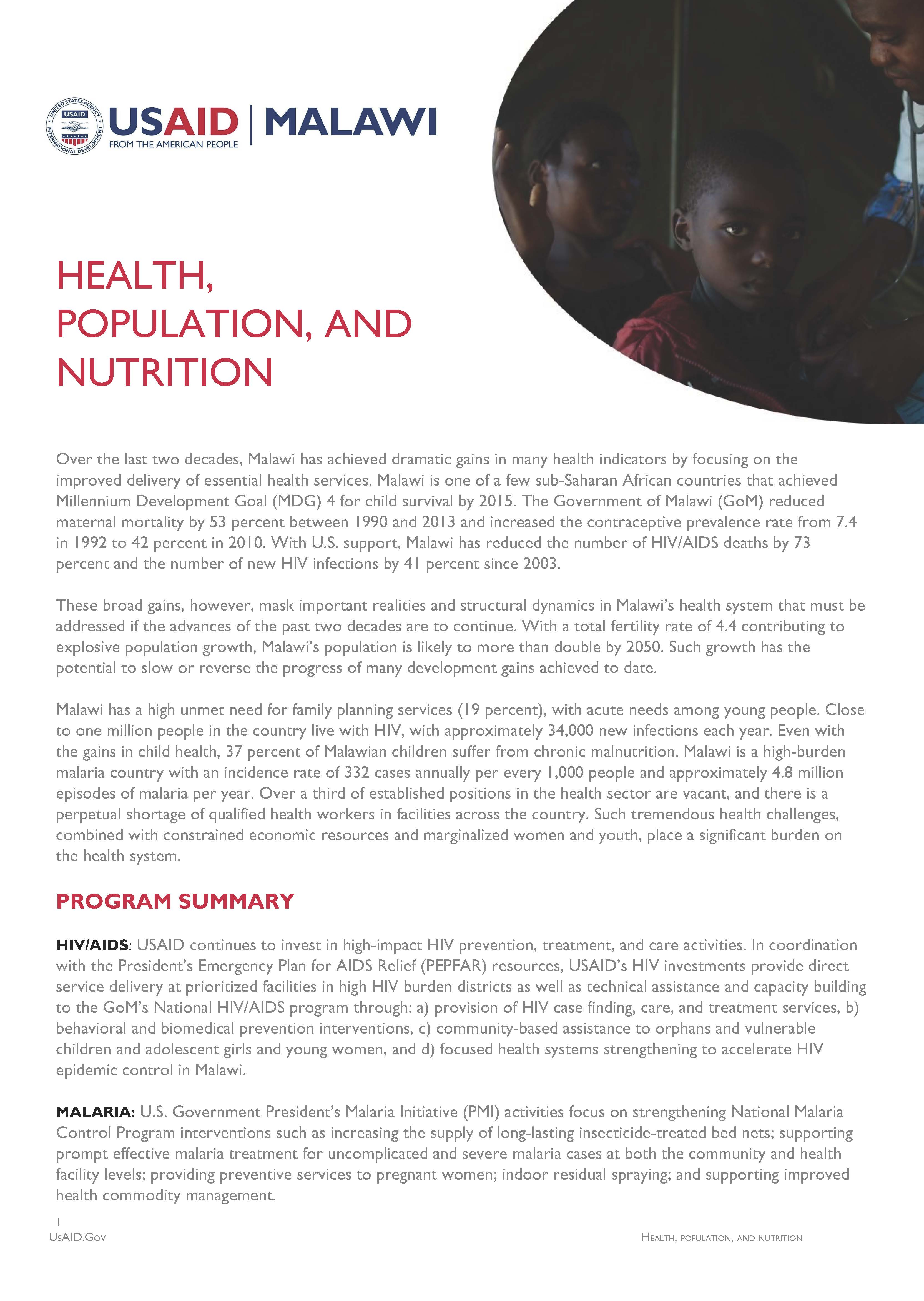 Health, Population and Nutrition Fact Sheet