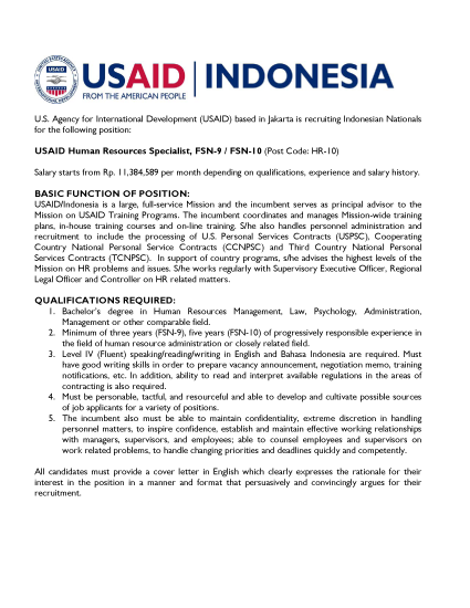 USAID Human Resources Specialist, FSN-9 / FSN-10