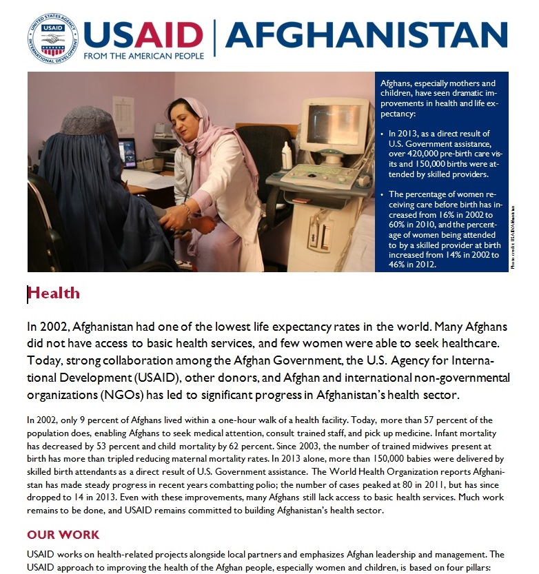 AFG Health Sector Fact Sheet FINAL 06.14.2014