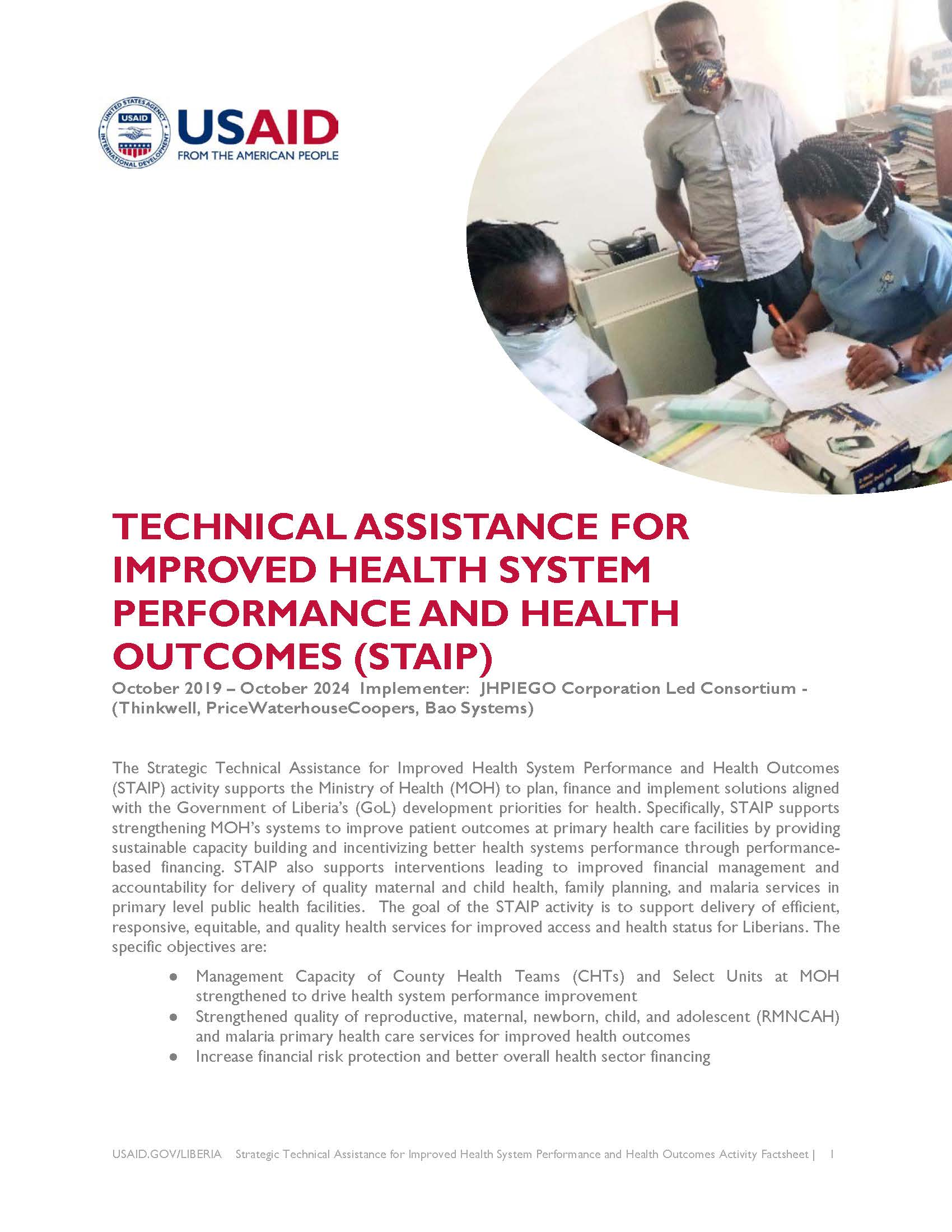 Strategic Technical Assistance for Improved Health System Performance and Health Outcomes Activity