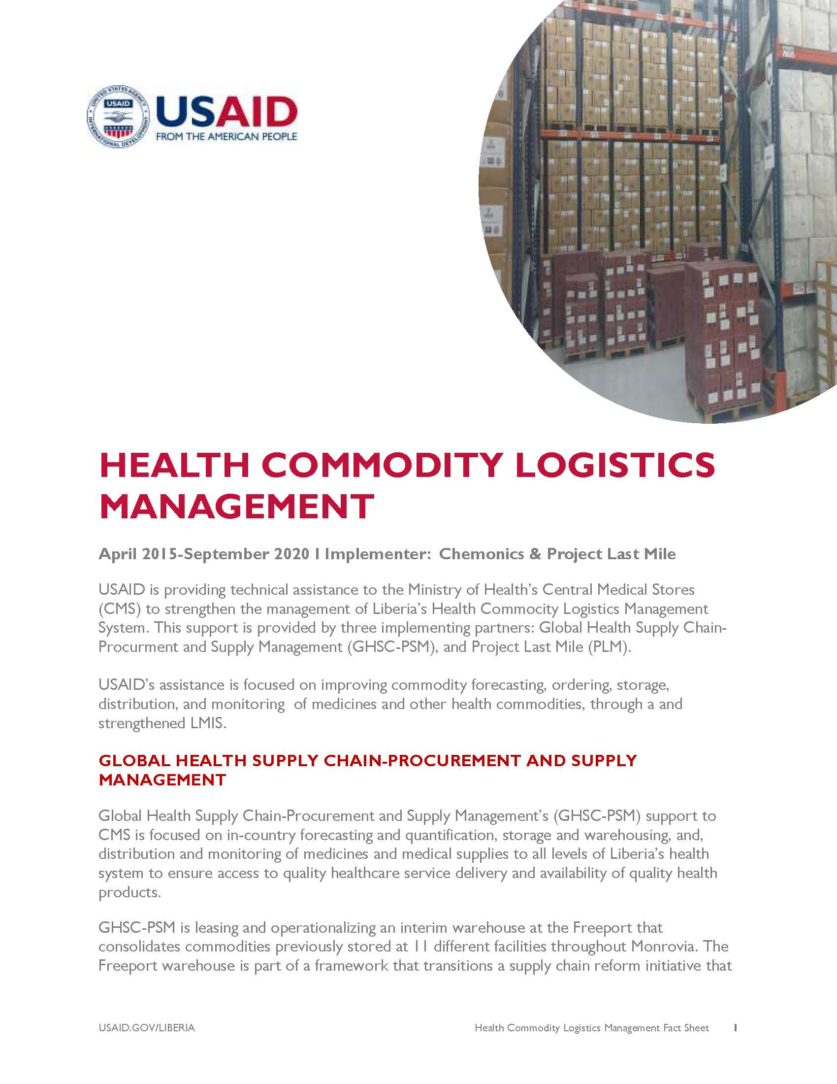 Health Commodity Logistics Management | Fact Sheet | Liberia