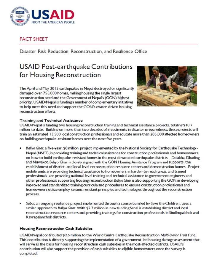 Fact Sheet: USAID Post-earthquake Contributions for Housing Reconstruction