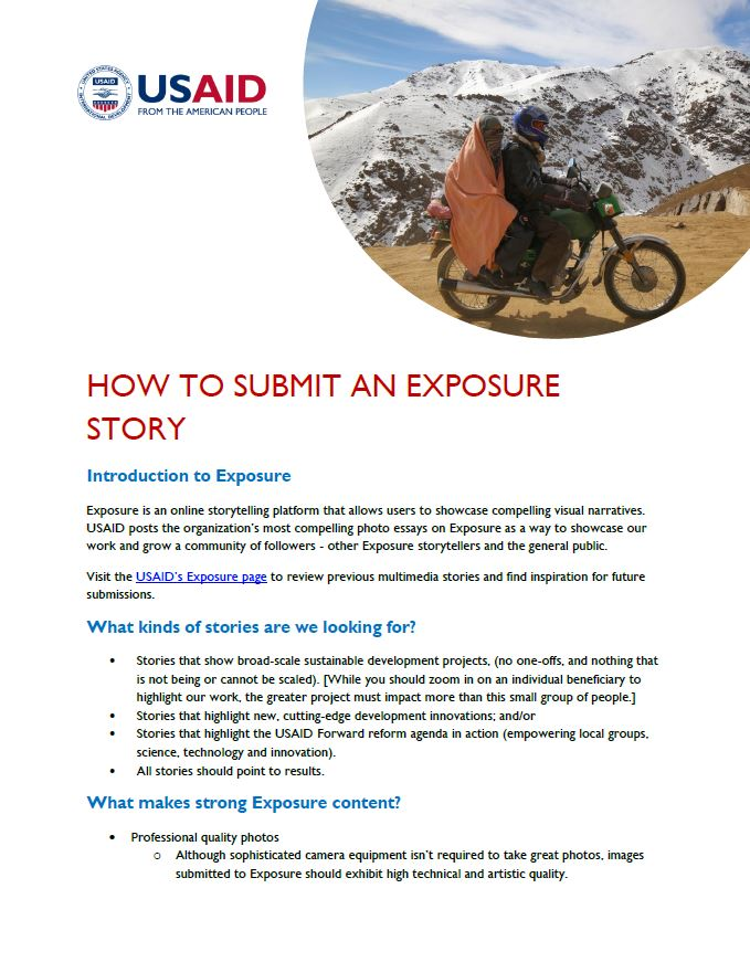 how to submit an exposure story us agency for international development