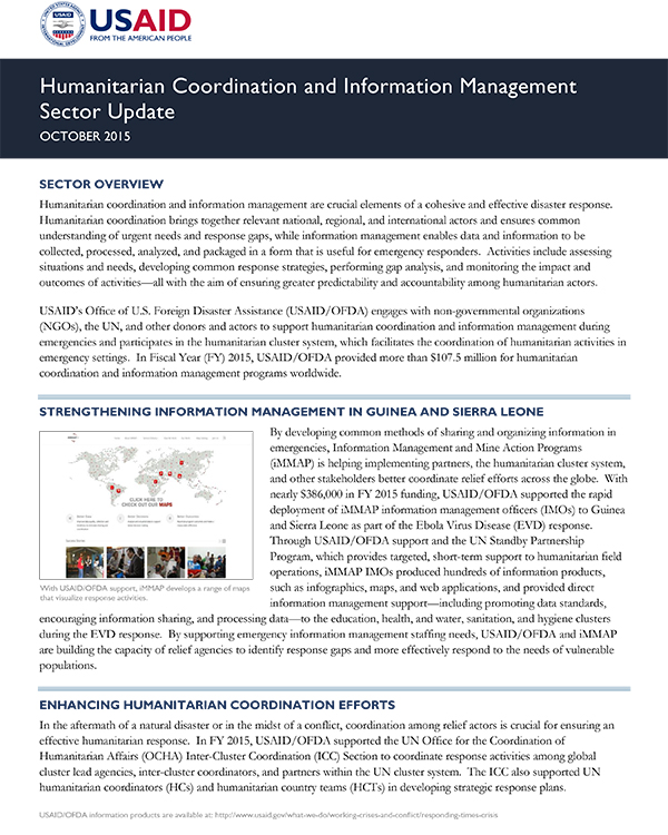 Humanitarian Coordination and Information Management Sector Update - October 2015