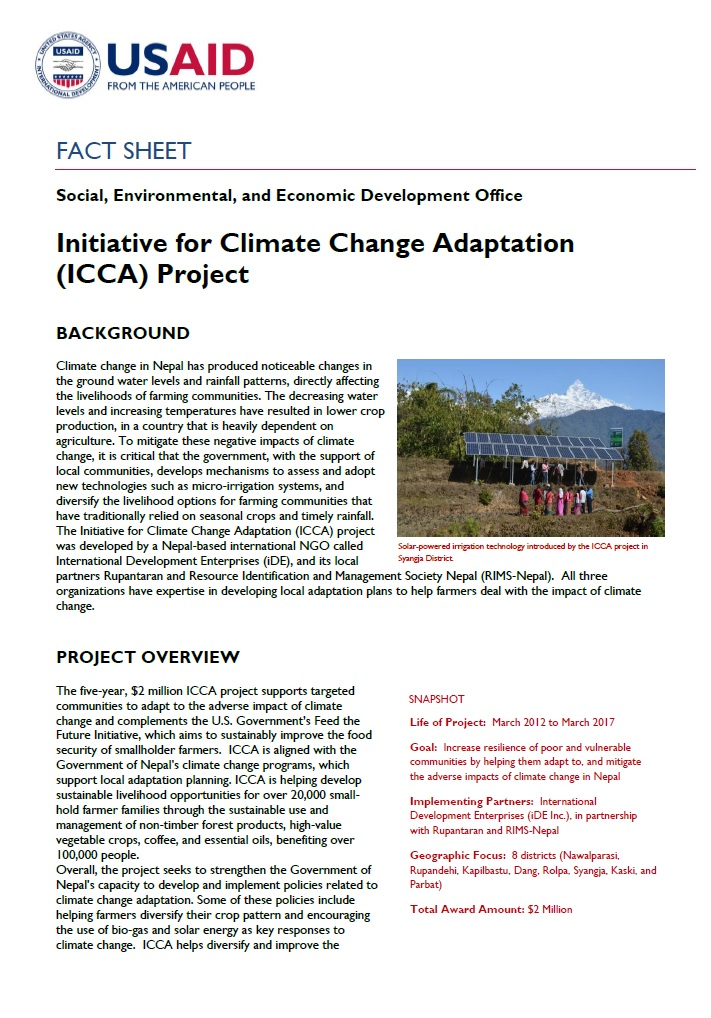 FACT SHEET: Initiative for Climate Change Adaptation (ICCA) Project