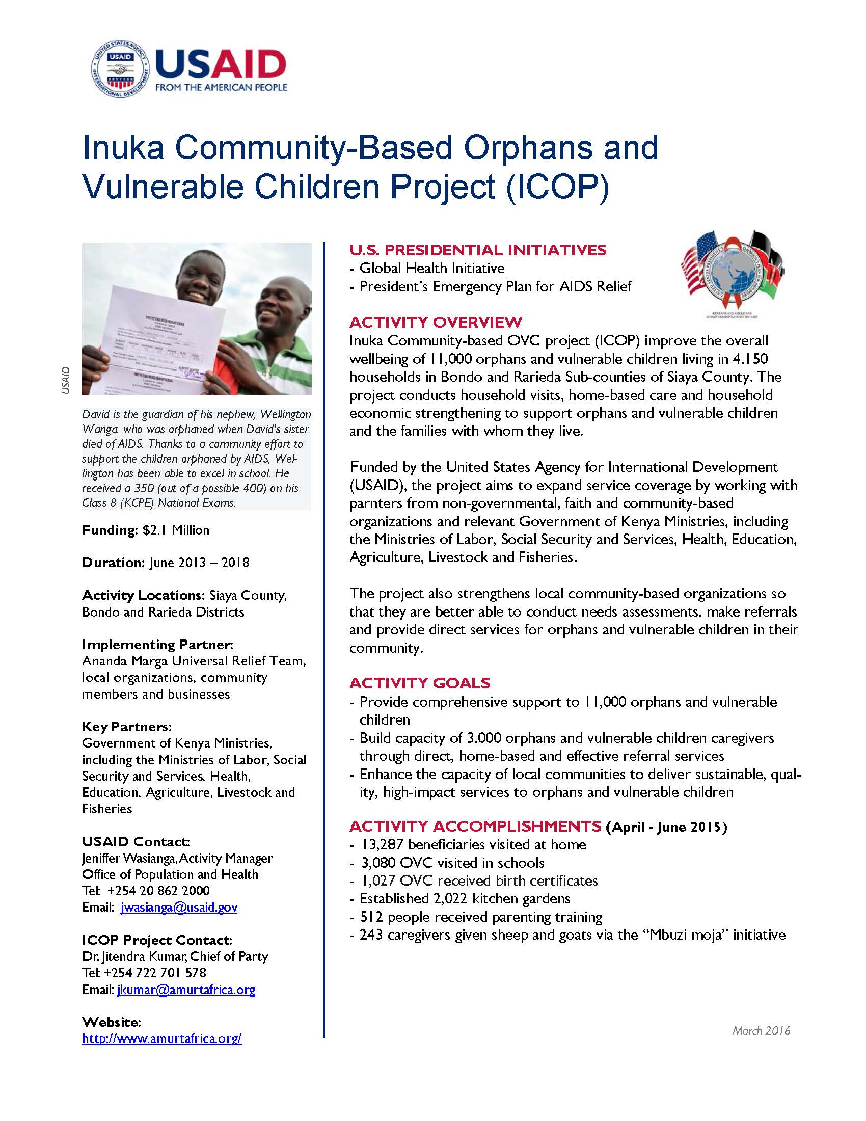 Inuka Community-Based Orphans and Vulnerable Children Project (ICOP)