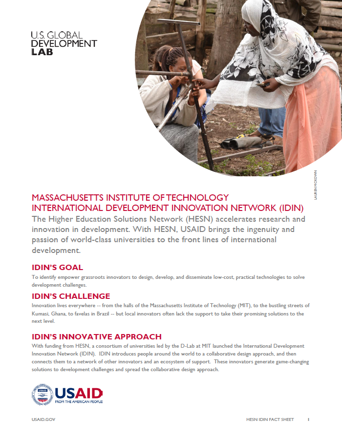 Massachusetts Institute of Technology International Development Innovation Network (IDIN) Fact Sheet