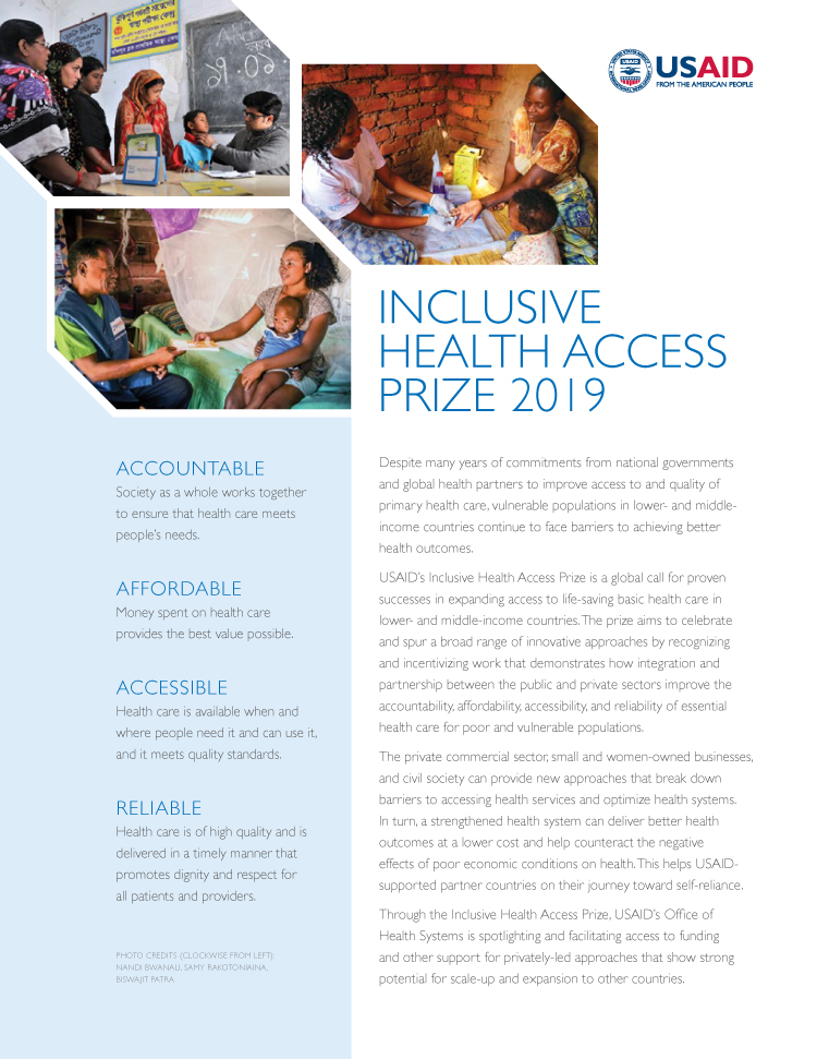 Inclusive Health Access Prize 2019 Fact Sheet cover