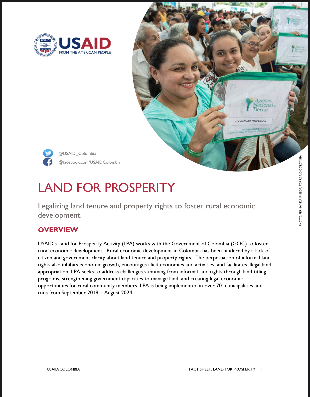 Fact Sheet: Land for Prosperity Activity