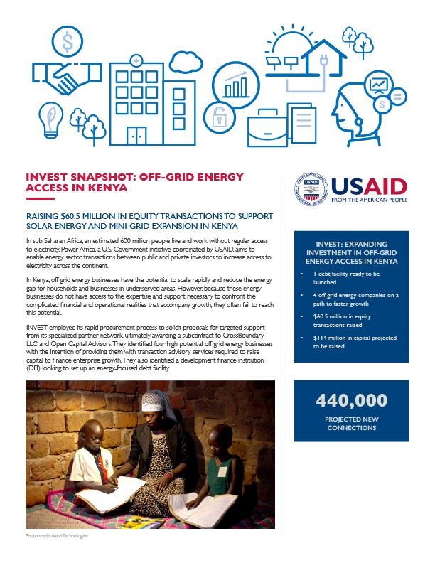 INVEST Snapshot: Off-Grid Energy Access in Kenya