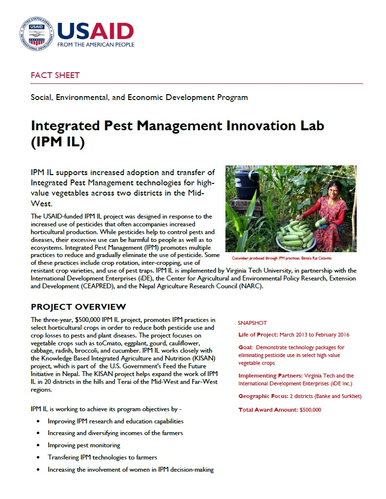 FACT SHEET: Integrated Pest Management Innovation Lab (IPM IL)