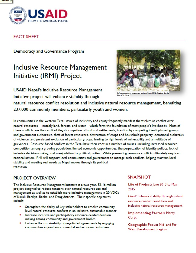 Inclusive Resource Management Initiative (IRMI) Project