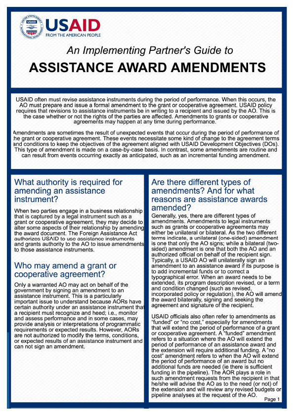 An Implementing Partner S Guide To Assistance Award Amendments