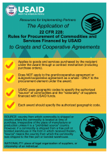 Infographic: The Application of 22 CFR 228: Rules for Procurement of Commodities and Services Financed by USAID to Grants and Co