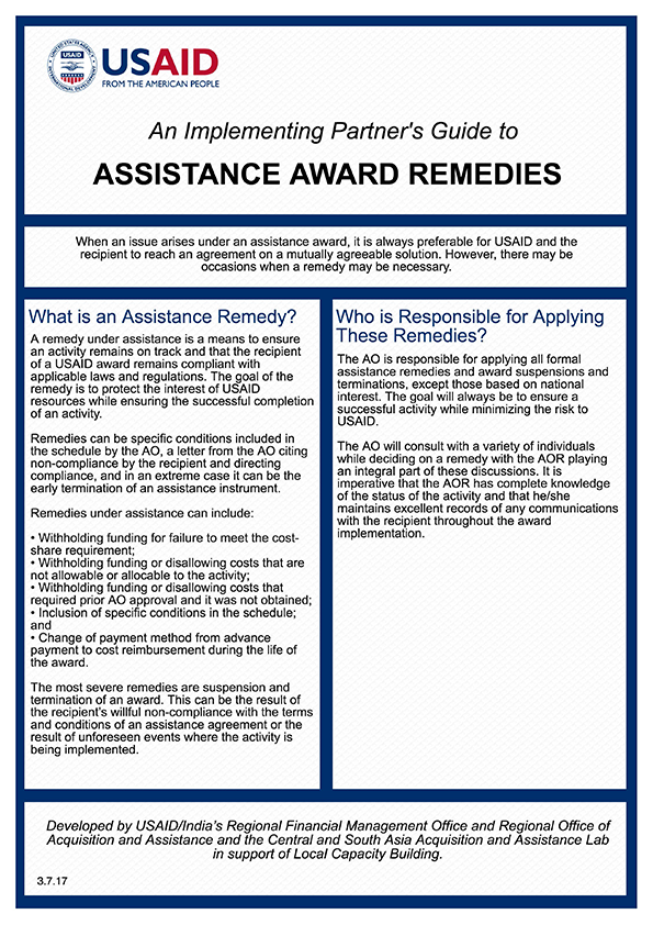 An Implementing Partner's Guide to Assistance Award Remedies