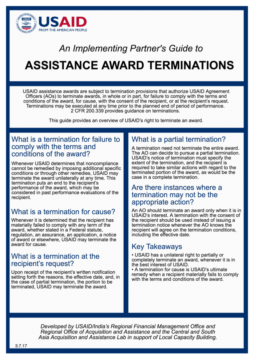 An Implementing Partner's Guide to Assistance Award Terminations