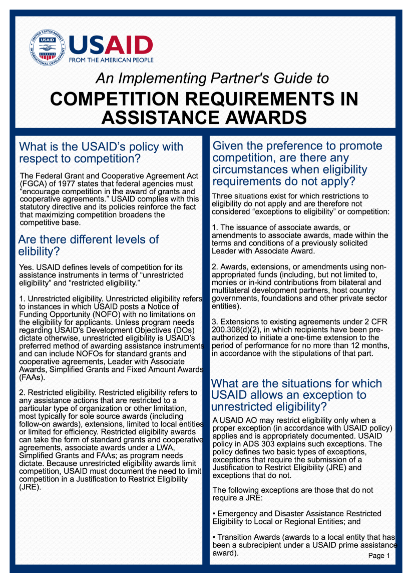 An Implementing Partner's Guide to Competition Requirements in Assistance Awards