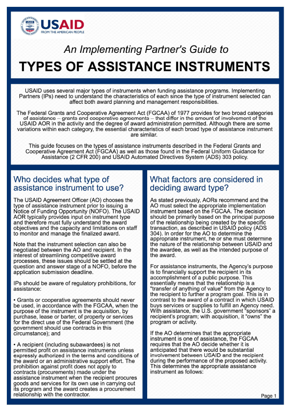 An Implementing Partners Guide To Types Of Assistance Instruments