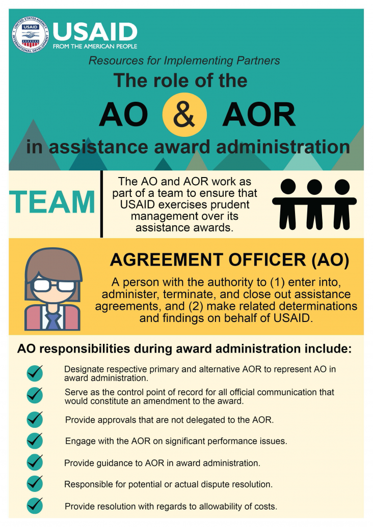 infographic the role of the ao vs aor in assistance award
