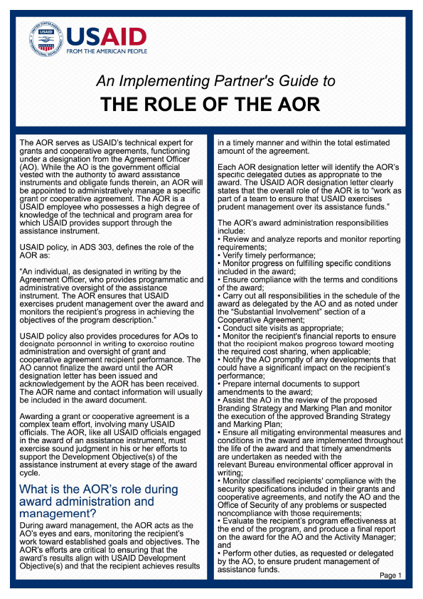 An Implementing Partner's Guide to The Role of the AOR
