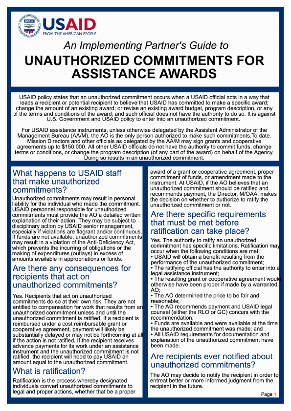 An Implementing Partner's Guide to Unauthorized Commitments for Assistance Awards