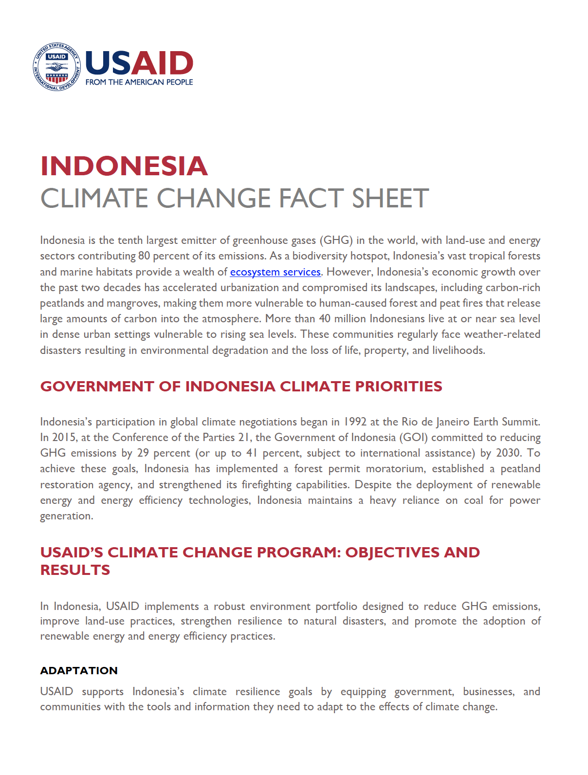Indonesia Climate Change Country Profile